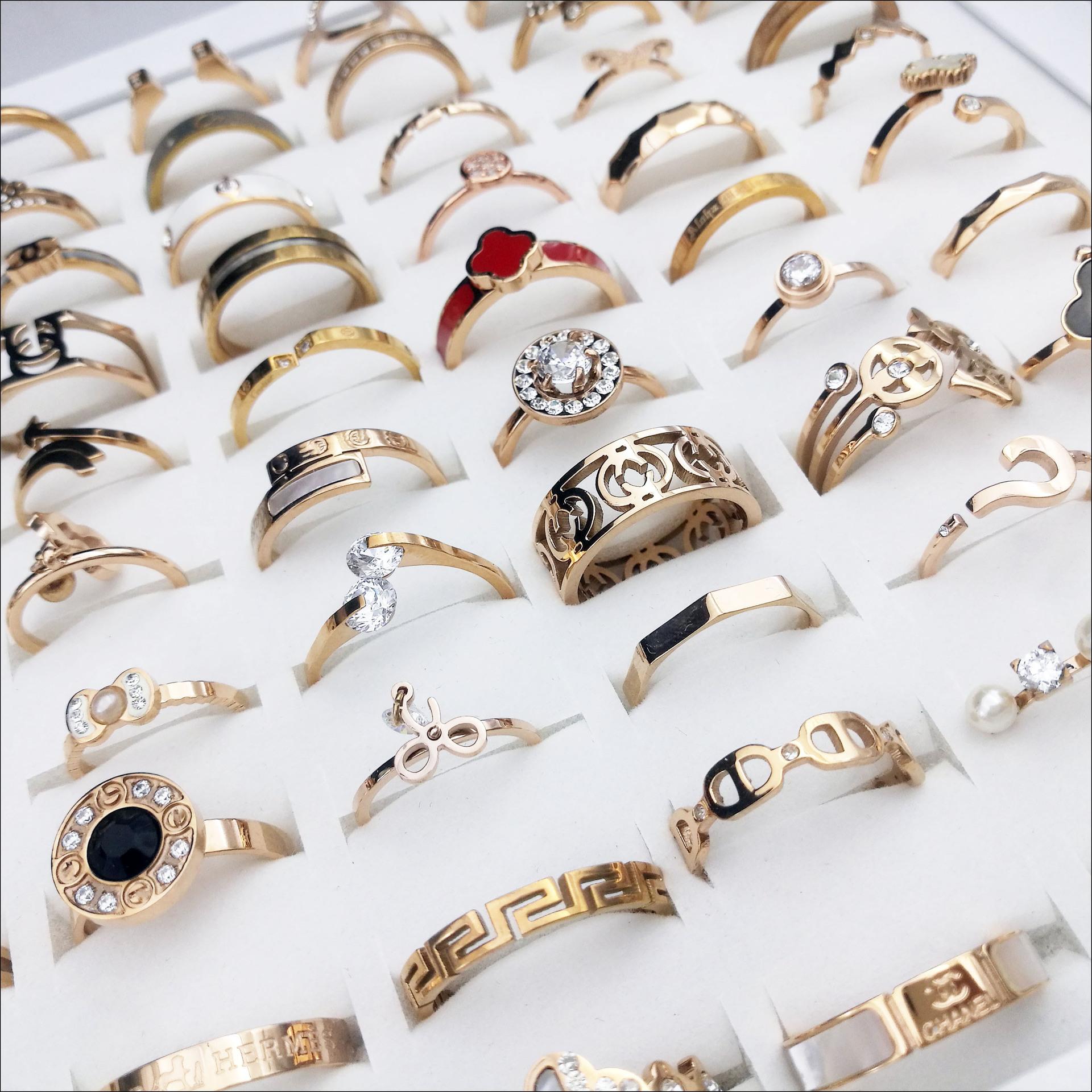 欧美精品 玫瑰金锆石戒指 Ebay速卖通 地摊 热卖高档女士钛钢指环