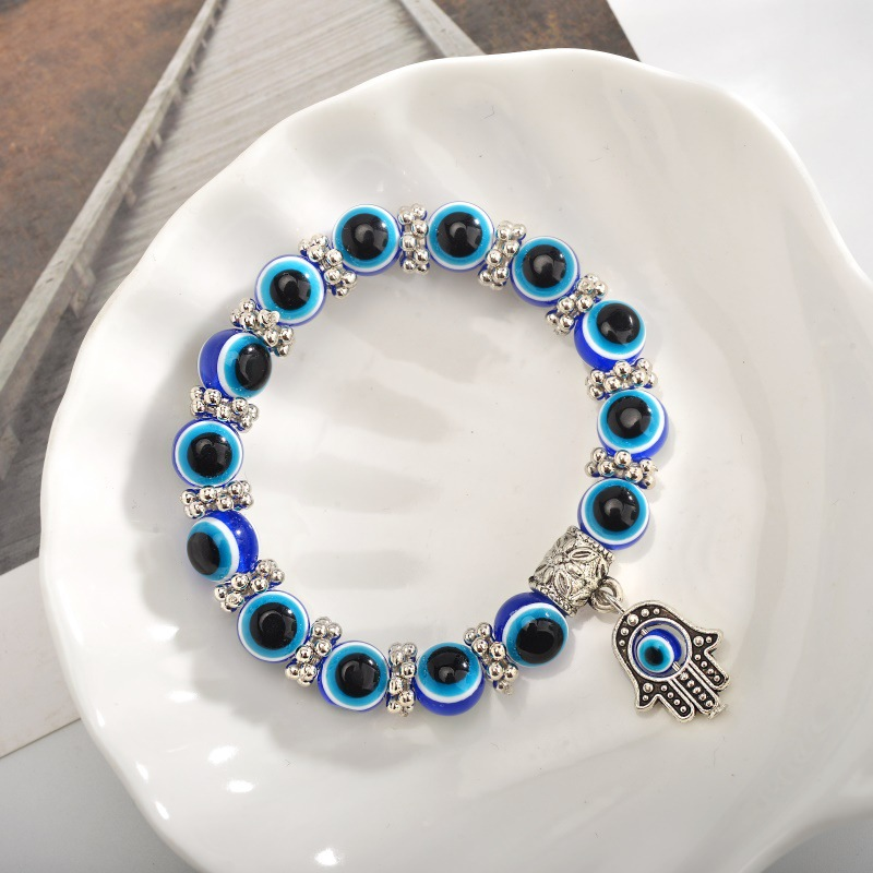 Retro Blue Eye Bead Fatima  Fashion Evil Eye Bracelet wholesale  NHMO241126