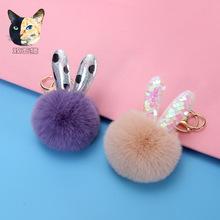 批發可愛兔子耳朵 創意款毛球鑰匙扣書包掛件 學生ins潮廠家直供