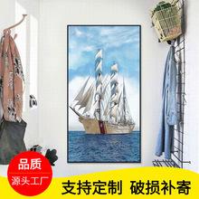 一帆風順玄關過道裝飾畫辦公室入戶進門現代簡約走廊豎版帆船墻畫