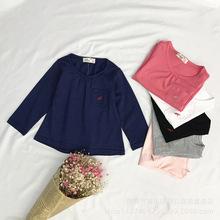 現貨Karlomico秋季歐美嬰幼童女童裝繡花純色可愛棉長袖圓領T恤