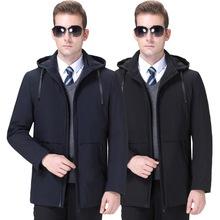 冬裝品牌男士新款棉衣商務休閑2019中老年加厚防寒蠶絲棉服外套