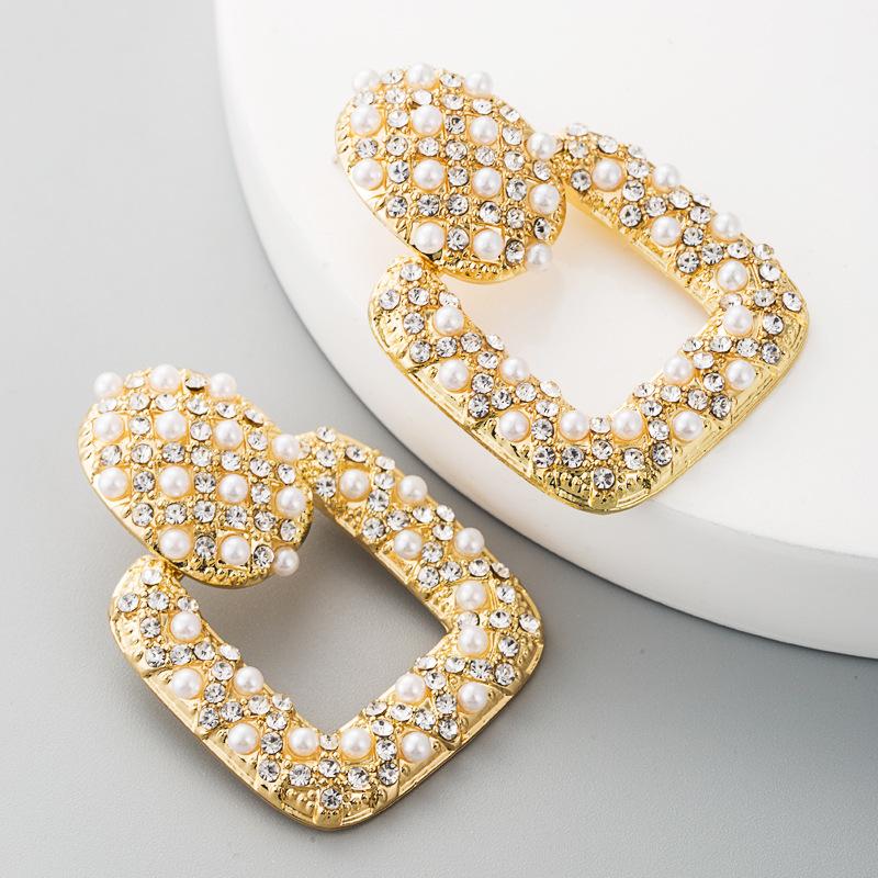 Fashion retro earrings female alloy with pearl rhinestones square hollow wholesales fashion NHLN184116