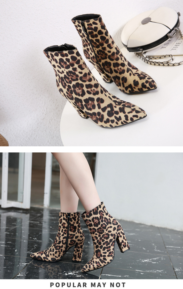 European and American leopard-printed pointed high-heeled Martin boots NHSO154901