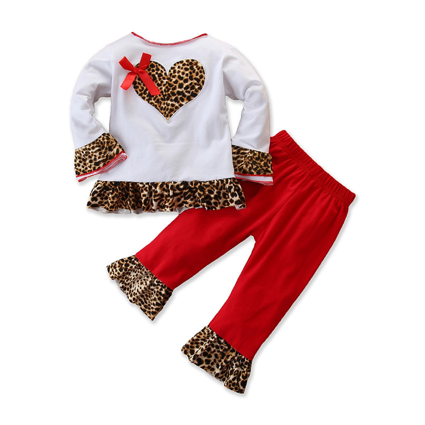 Samgamibaby European and American new spring 2020 girls' suit baby suit love top + leopard pants trend