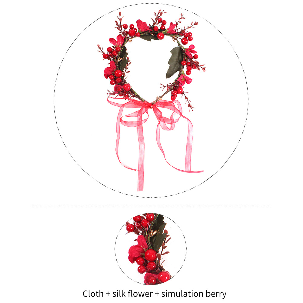 New red wedding accessories flower bride photography hair hoop headdress women NHMD184990