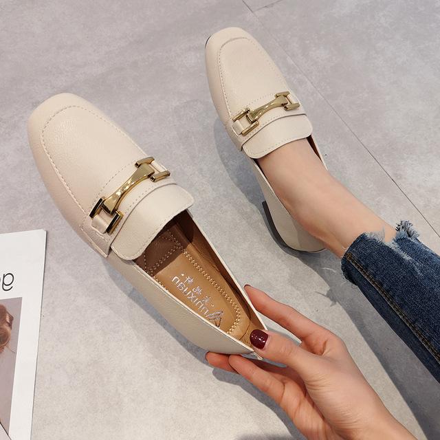 2019春季新款韩版方头乐福鞋女百搭粗跟金属扣懒人豆豆鞋简约单鞋