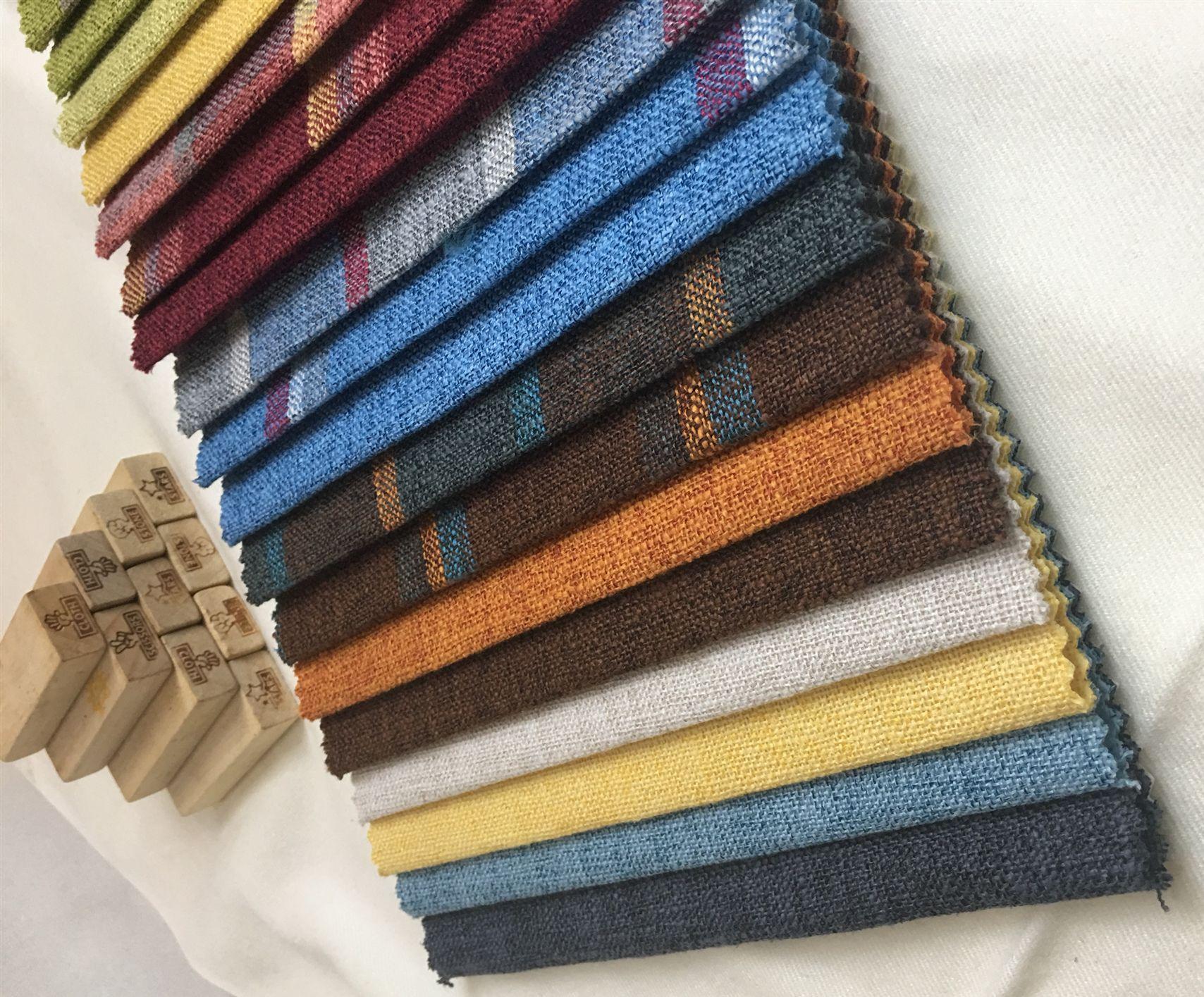 直销沙发布料素色粗格子麻布坐垫套亚麻布面料软硬包工程装饰布