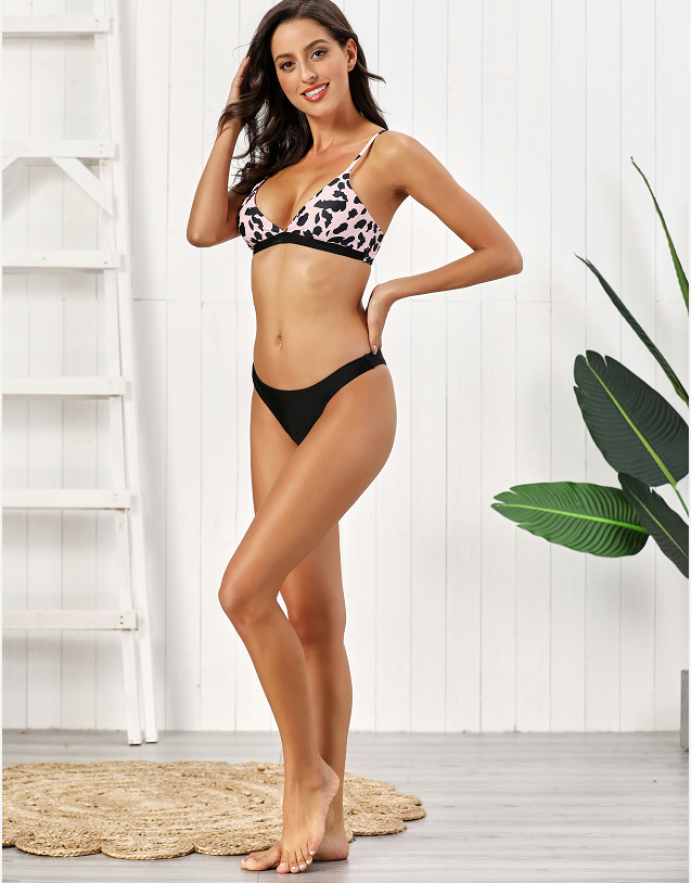 New Women's Split Leopard Print Bikini Swimsuit NHHL198369
