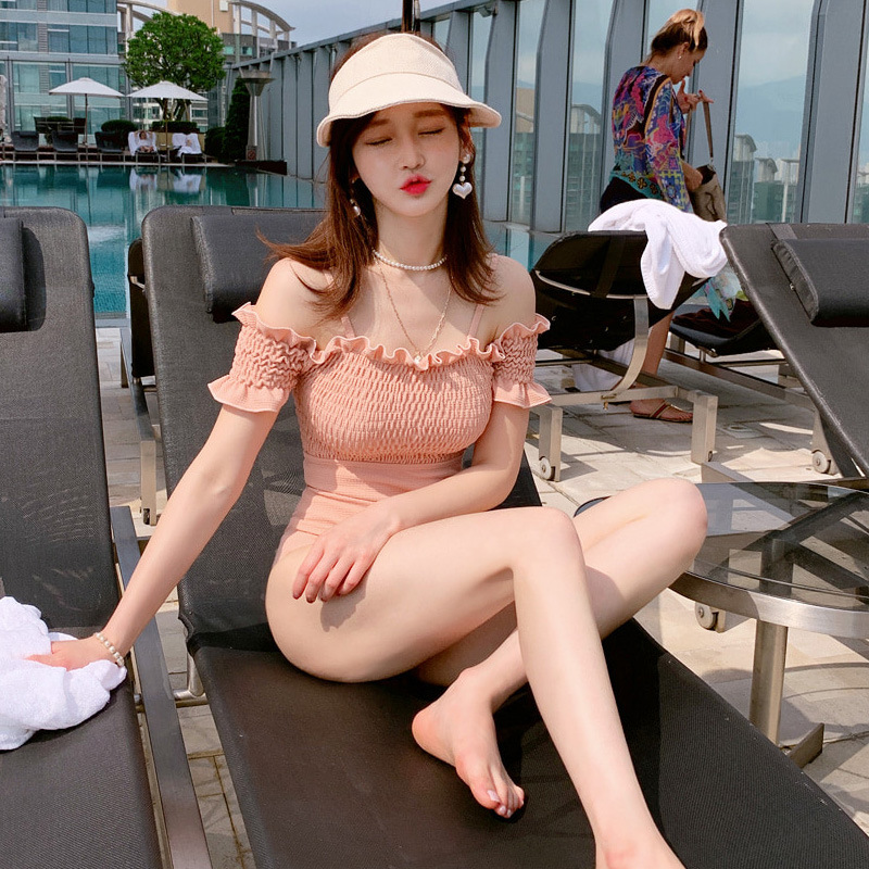 Fashion new ruffled strapless off-shoulder triangle one-piece swimsuit NHHL198398