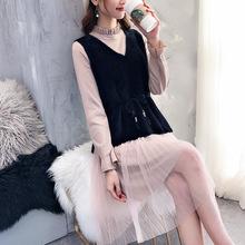 套裝針織馬甲連衣裙女春裝2019新款毛衣裙子兩件套韓版女神范顯瘦
