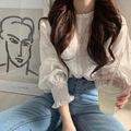 2021韩国甜美系少女早春小清新减龄蕾丝勾花灯笼长袖衬衫女上衣