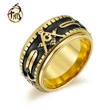 跨境电商爆款可转动共济会戒指 钛钢男士指环手饰ring men定制