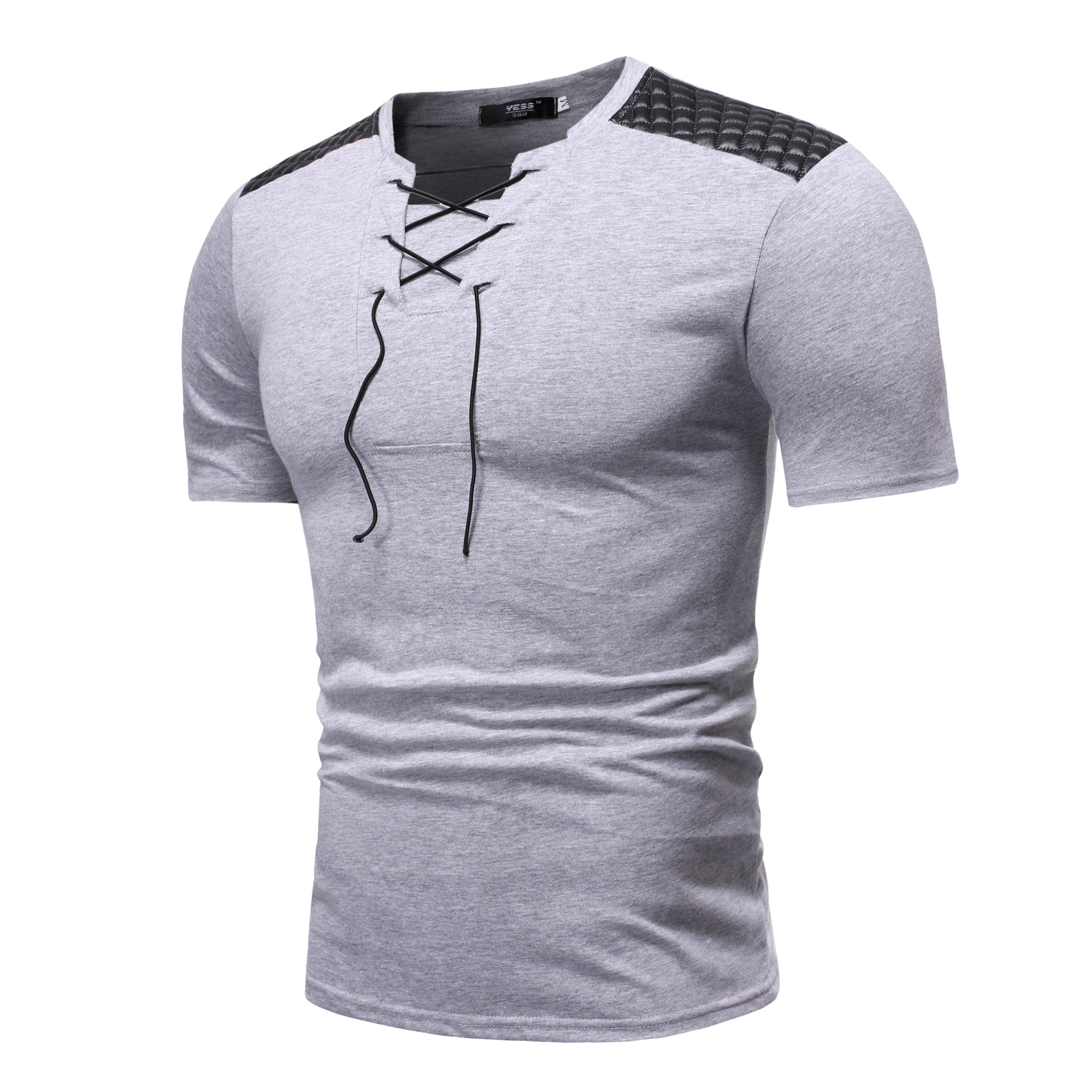 Quick sell through wish new men's V-neck lace up short sleeve T-shirt shoulder panel design European casual thin T-shirt