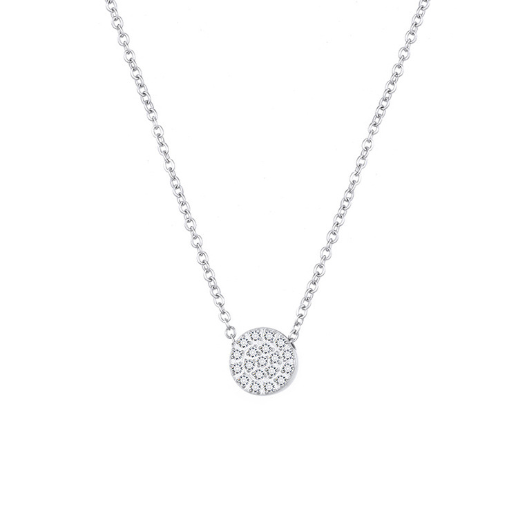 316L stainless steel necklace female plated 14K gold round clavicle chain NHTF175323