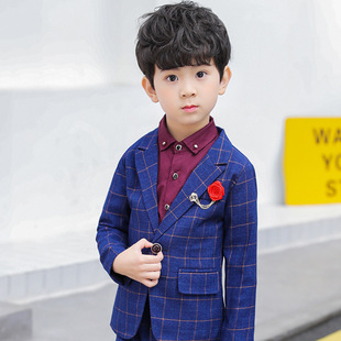 Children's clothing for autumn and winter new one piece ready to go boy small suit plaid children's suit British kid dress British style