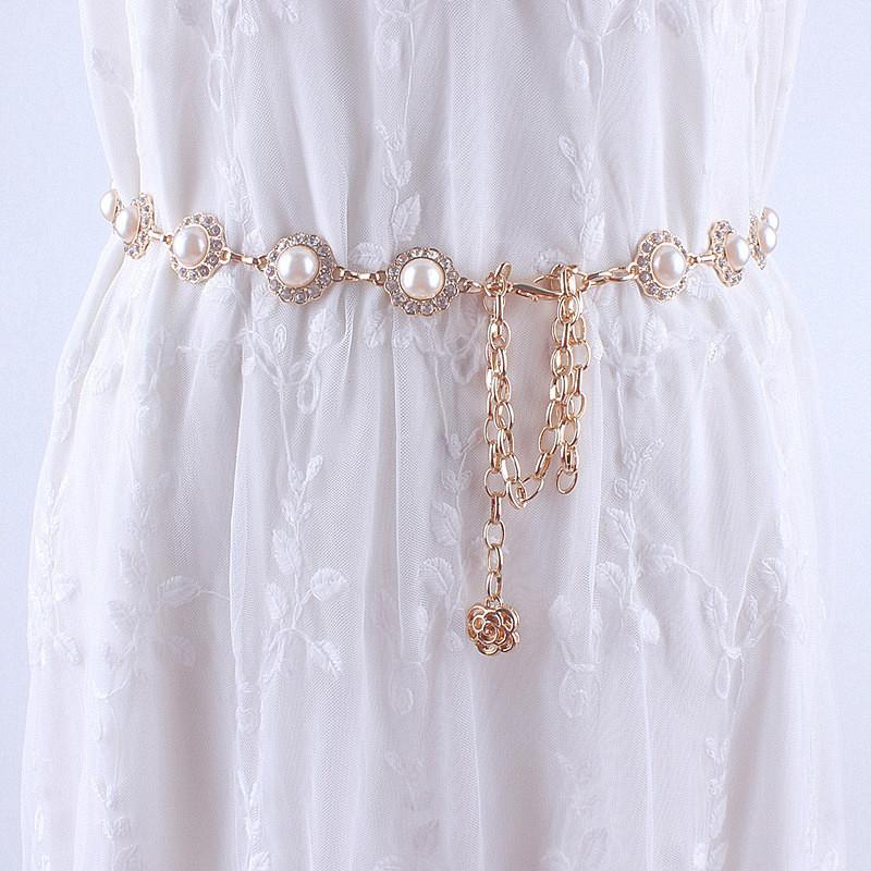 时尚金属珍珠腰链女士装饰腰带细配连衣裙子皮草韩版加长水钻镶嵌