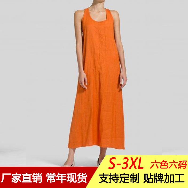 欧美外贸女装速卖通wish亚马逊eBay跨境宽松长款背心裙无袖连衣裙