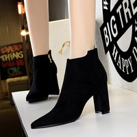 803-2 European and American winter fashion simple thick heel high pointed suede sexy nightclub show thin short boots and nude boots