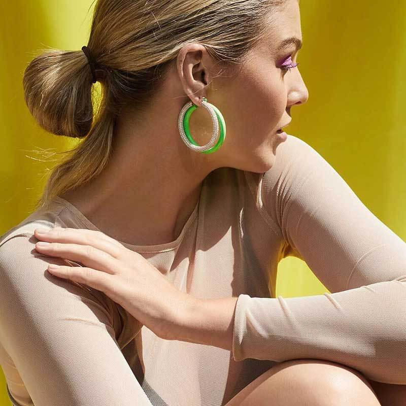New big circle candy-colored acrylic hoop earrings NHOT149435