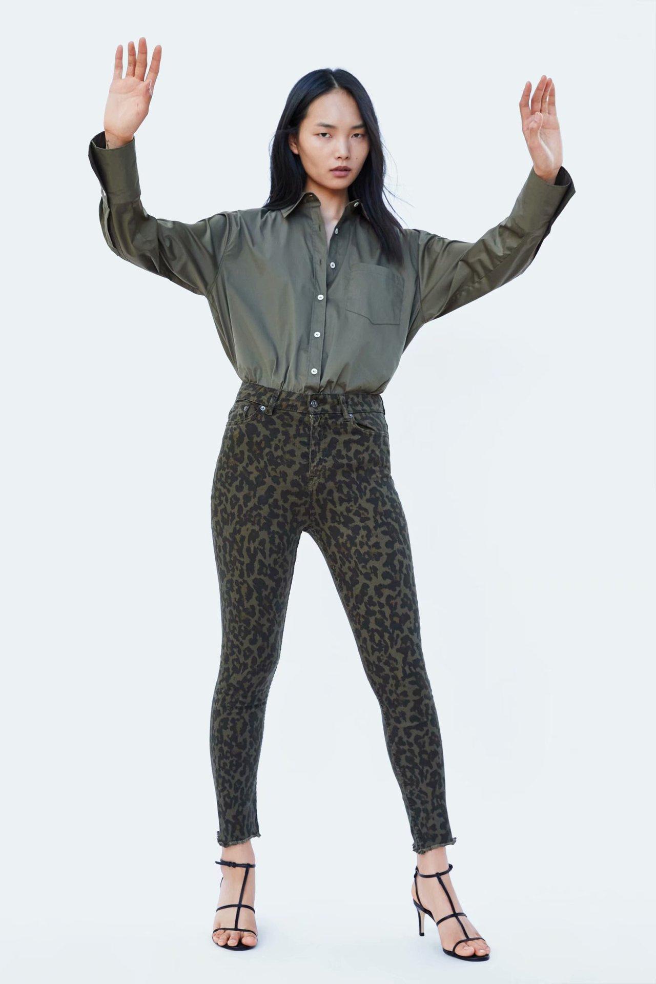 Autumn and winter leopard high waist women's jeans NHAM157295