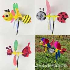 创意七彩卡通亮片昆虫立体小风车户外装饰幼儿园儿童玩具地摊热卖