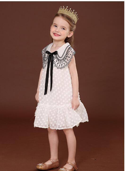 2020 عبر الحدود AliExpress تونجشيا بنات طية صدر السترة البتلة فستان بلا أكمام فتاة صغيرة ثلاثية الأبعاد زهرة فستان الأميرة