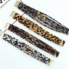 亞馬遜爆款手鏈豹紋皮革女士多層手鏈高檔磁扣串珠彎管精品手鐲