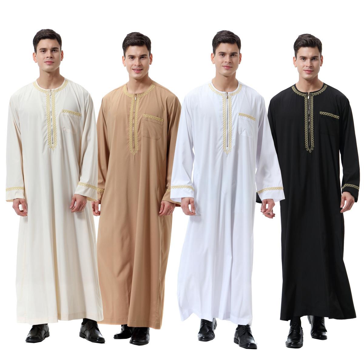 外贸电商 巴基斯坦 印度 穆斯林 阿拉伯圆领刺绣长袍秋季长裤衬衫