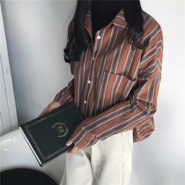 Real shot of Korean style simple wind impact color striped shirt 1230255