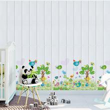 3d立体木纹印花防污装饰贴客厅卧室自粘墙纸防潮壁纸卡通创意墙贴