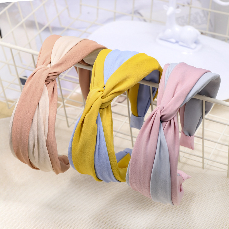 Temperament lady headband wide-brimmed hair color matching fabric cross knotted headband NHDM173131