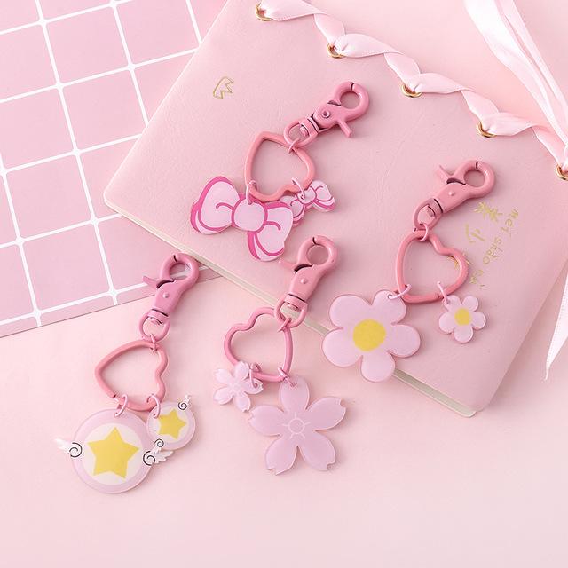 2416可爱粉色少女心爱心钥匙扣日系卡通蝴蝶结钥匙圈包包挂件装饰