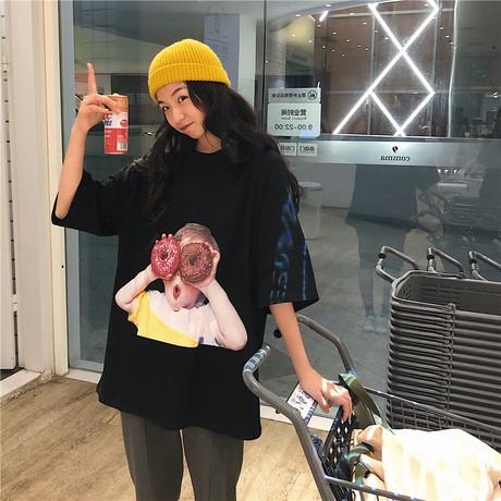 Ngôi sao nữ Tide mùa hè mới của ngôi sao nữ với cùng một mẫu bánh rán boy boy mẫu áo thun tay ngắn ngoại thương