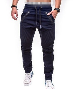 New new style men's casual fashion tethered elastic sports baggy pants double zipper open crotch pants