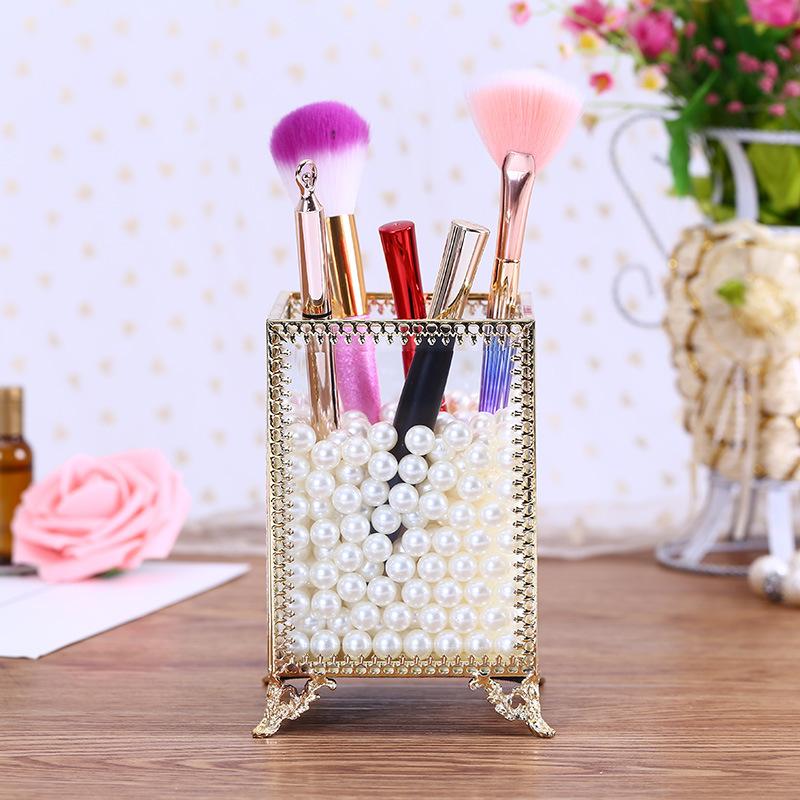 立式几何无盖玻璃花房 玻璃罩 铜边化妆品收纳盒桌面珠宝首饰盒