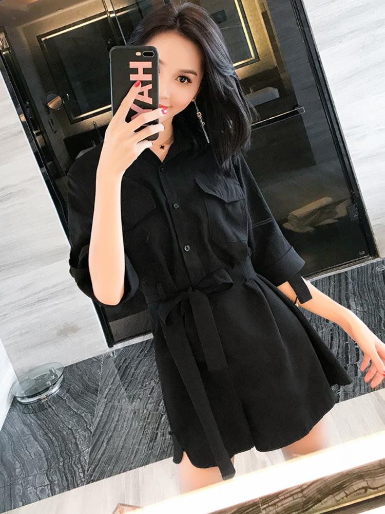 夏季短裤气质淑女小清新小个子衬衫女装收腰显瘦黑色阔腿裤裤棉混