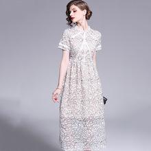 欧美201春季9明星同款蕾丝短袖修身显瘦大牌气质中长款连衣裙