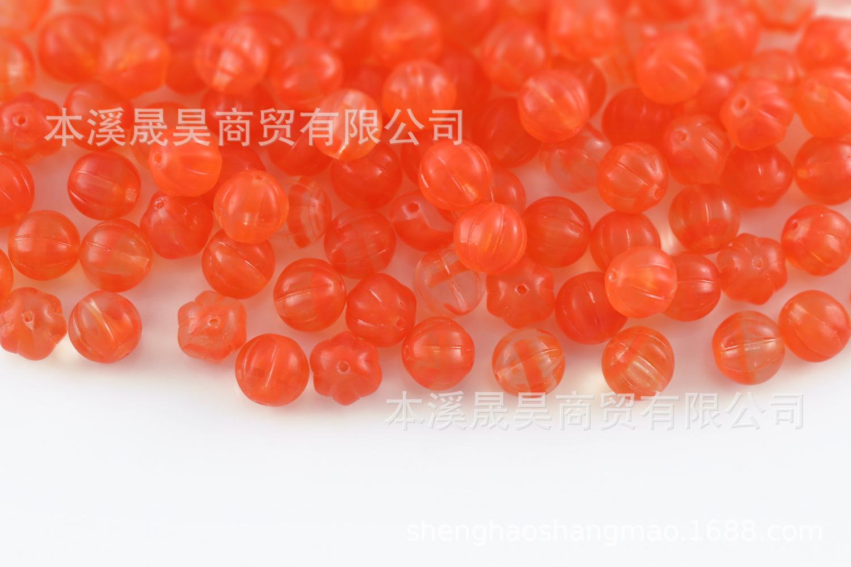 批发捷克进口 8mm 描金圆南瓜琉璃珠玻璃珠DIY串珠配件饰品材料