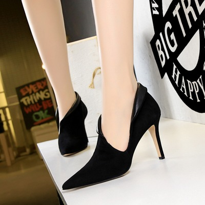 2866-1 the European and American fashion sexy high-heeled shoes suede tines nightclub show thin hollow out deep mouth si