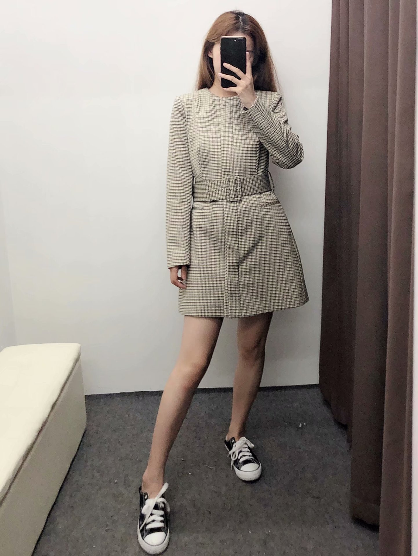 Fashion autumn houndstooth windbreaker jacket NHAM157290