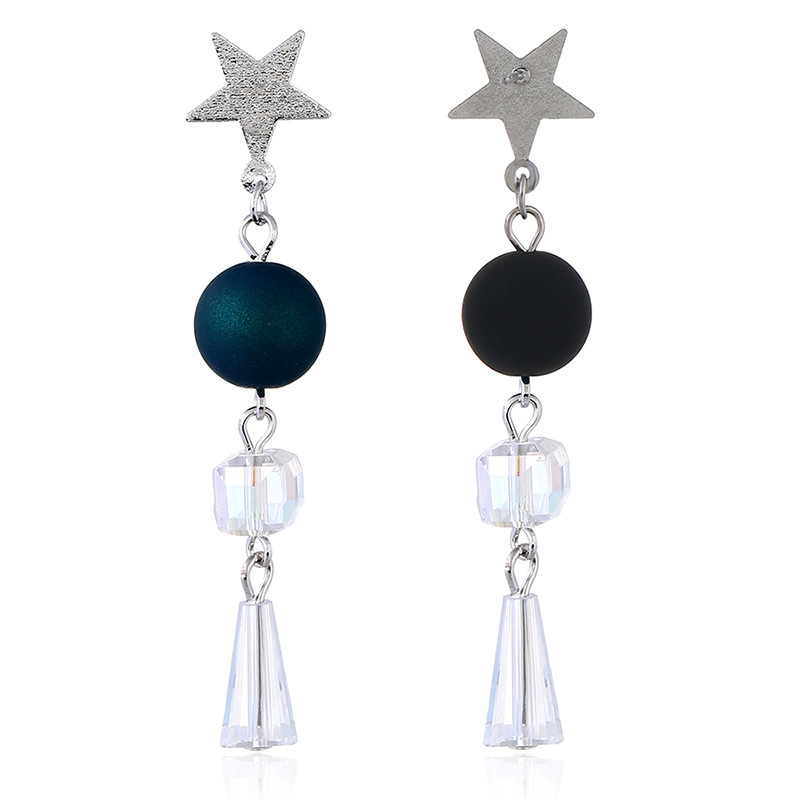 Cross-border supply 2019 new earrings accessories source factory Japan and South Korea five-pointed star stud earrings simple bead earrings NHKQ172863