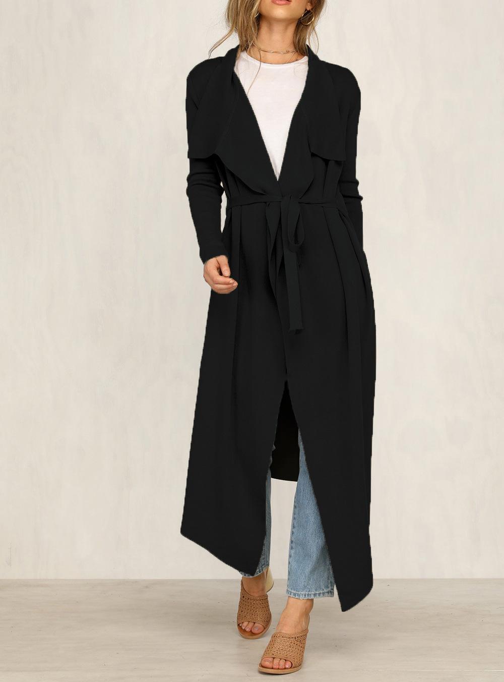 Fashion long knee-length windbreaker jacket NHDF149773