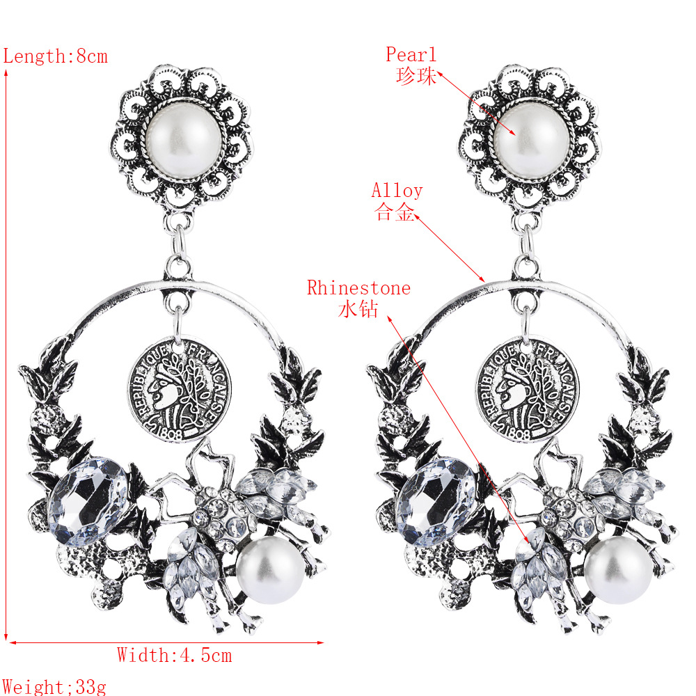 European and American style fashion long tassel earrings female alloy beauty head pearl diamond bee accessories flower earrings NHLN190292