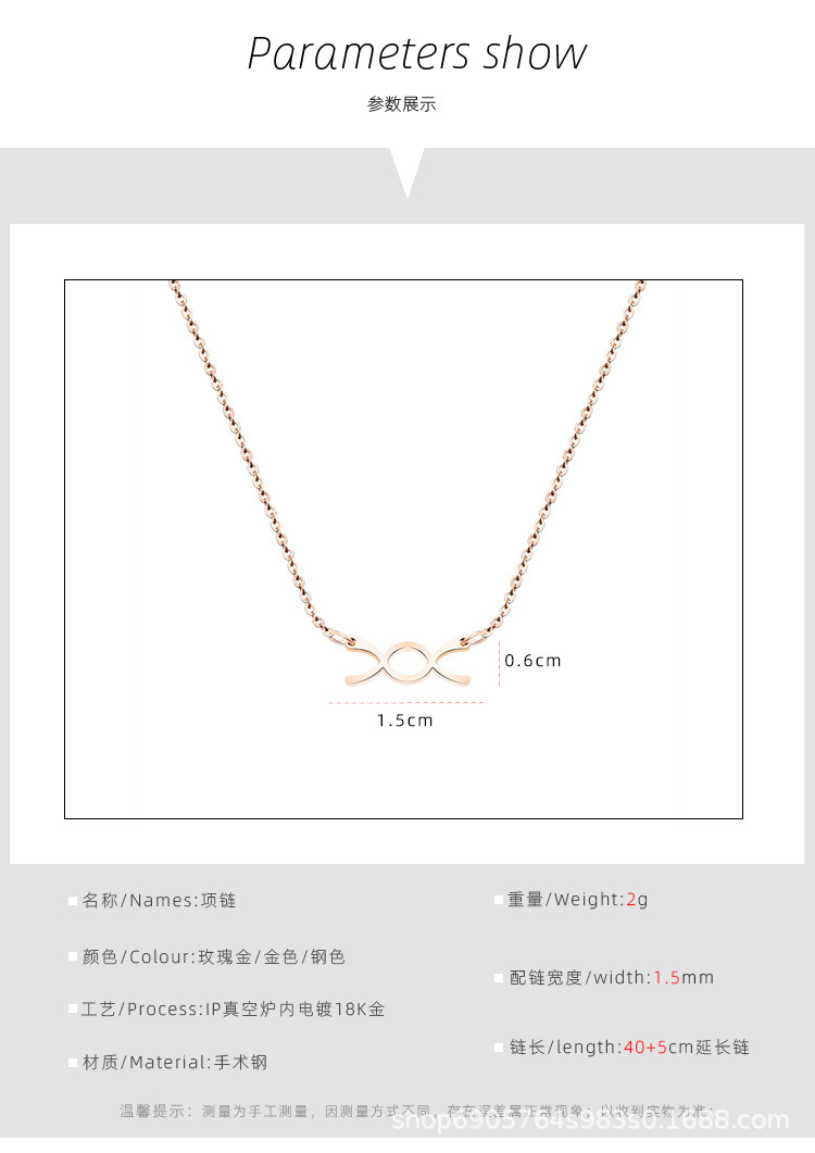 Hot selling mini XO collarbone sexy small titanium steel necklace NHOK182453