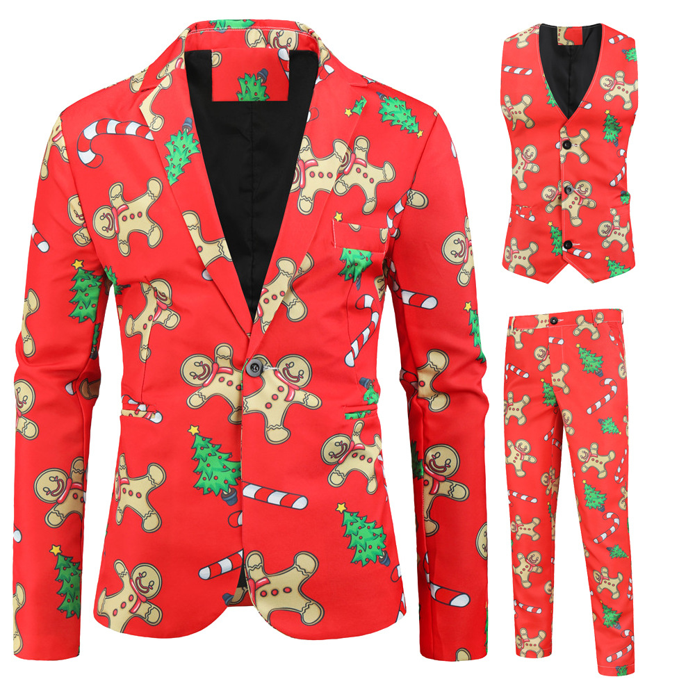 Foreign trade new men's casual suit three-piece Christmas printed suit for men slimming flat collar suit