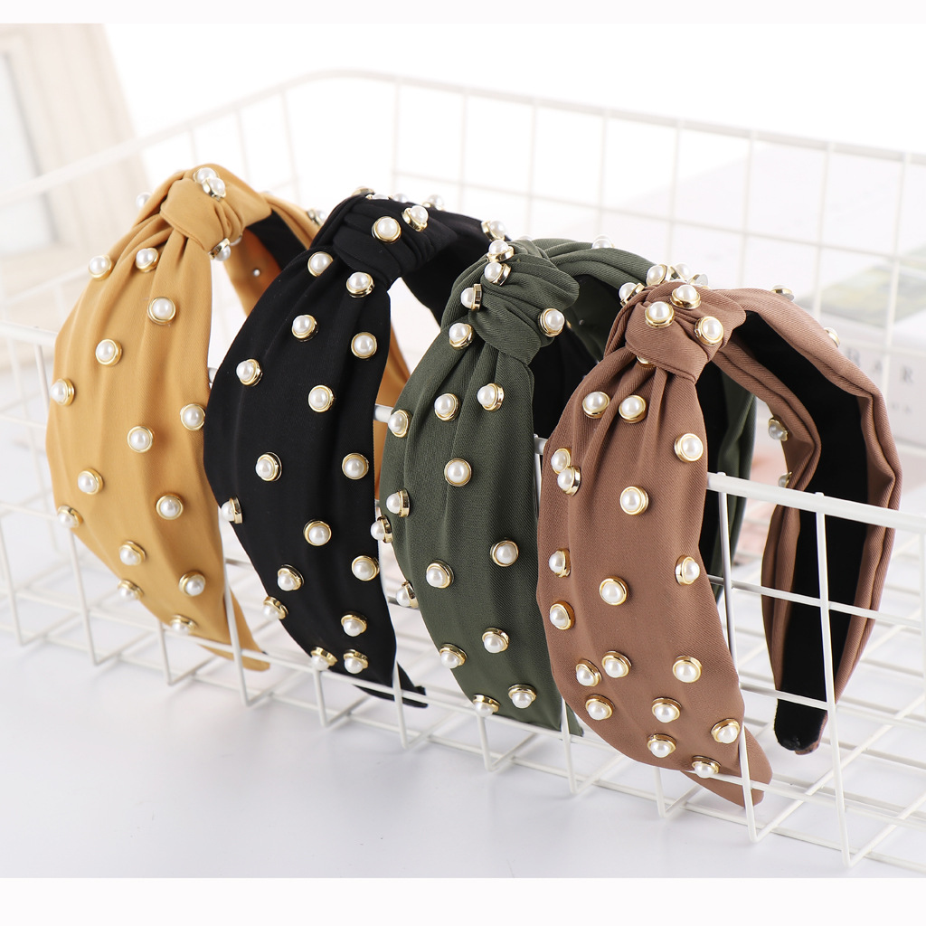 New solid color cloth beads wide headband NHHV139917