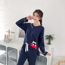睡衣女秋季纯棉长袖V领可爱卡通kt猫蝴蝶结可外穿家居服两件套装