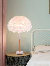 创意温馨台灯客厅白色北欧床头灯浪漫羽毛卧室是后现代喷漆磨砂台