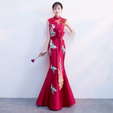 主持人鱼尾裙中国风结婚衣服小晚礼服女气场女王旗袍 敬酒服新娘